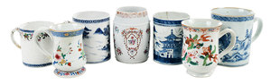 Seven Chinese Export Porcelain Canns