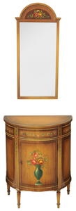 Adam Style Paint Decorated Console and Mirror