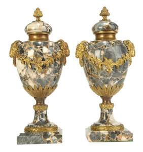 Pair Napoleon III Style Marble and Bronze Urns
