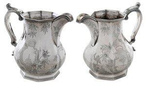 Pair of New York Coin Silver Pitchers