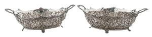 Pair Kirk & Son Coin Silver Repousse Bowls
