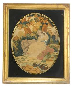 Framed Embroidery of Woman and Lion