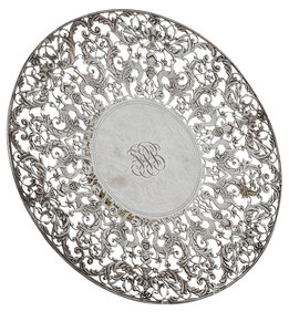 Sterling Footed and Pierced Cake Plate