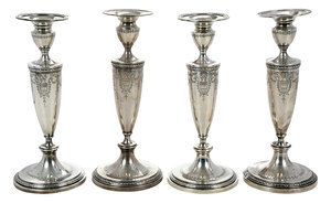 Set of Four Sterling Candlesticks