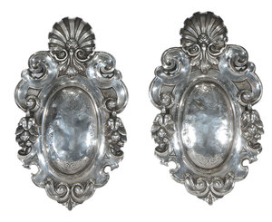 Pair Silver Plated Medallion Wall Plaques