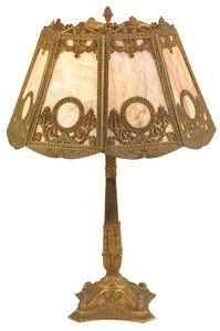 Bradley and Hubbard Style Slag Glass Table Lamp