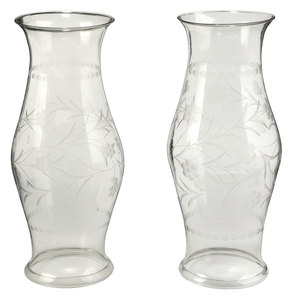 Large Pair Etched Glass Hurricane Shades