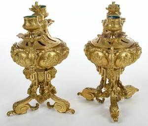 Pair Henri Picard Gilt Bronze Candelabra