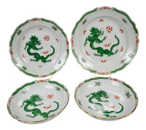 Four Pieces Meissen Green Dragon Porcelain