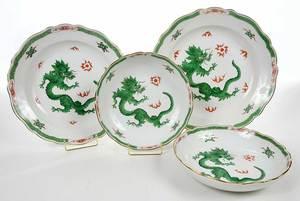 Four Pieces Meissen Green Dragon Porcelain