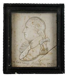Signed Wax Relief Portrait of George Washington