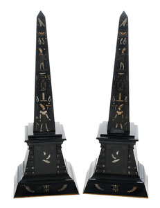 Pair Marble Egyptian Revival Obelisks