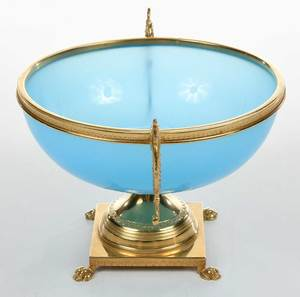 French Blue Opaline Glass and Gilt Brass Urn