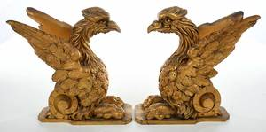 Pair Carved Gilt Wood Griffins