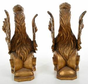 Pair Carved Gilt Wood Griffins