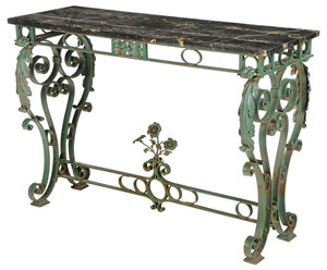 Marble Top Wrought Iron Garden Table