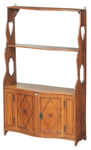 Provincial Inlaid Fruitwood Hanging Cabinet