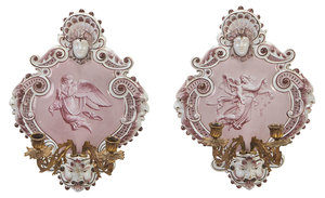 Pair Italian Majolica Wall Sconces