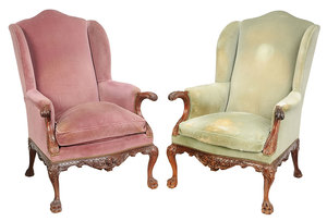 Pair Philadelphia Chippendale Style Easy Chairs