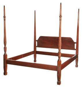 Federal Carved Mahogany Four Poster Bed