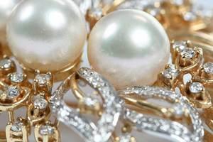 14kt. Gold Diamond & Pearl Brooch