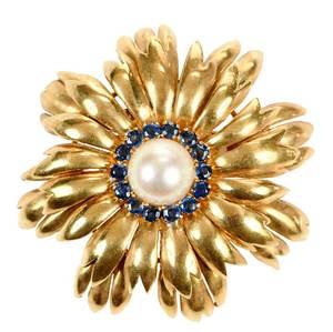 Tiffany & Co. 18kt. Sapphire & Pearl Brooch