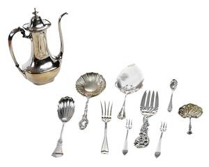 17 Pieces Sterling Flatware and Coffee pot