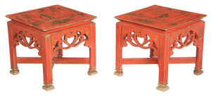 Pair Chinoiserie Decorated Parcel-Gilt Tables