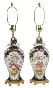 Pair Worcester Style Porcelain Lamps