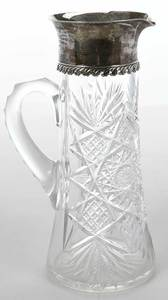 Tiffany Cut Glass and Sterling Pitcher