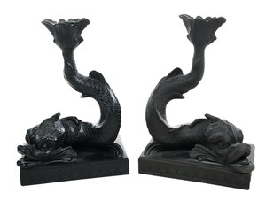 Near Pair Wedgwood Basalt Dolphin Candlesticks