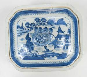 Five Canton Blue and White Serving Pieces