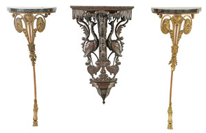 Figural Bracket, Pair Marble Top Consoles