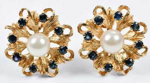 14kt. Gold Sapphire and Pearl Earrings