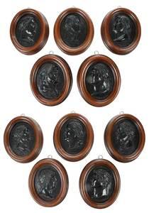 Ten Framed Relief Plaques of Roman Emperors