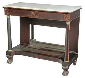 American Classical Marble Top Pier Table