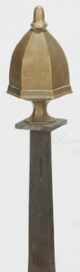 Pair Federal Brass and Iron Andirons