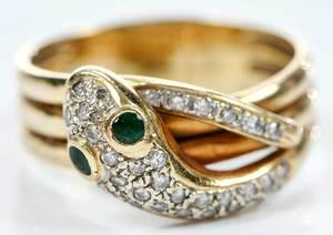 14kt. Gold & Diamond Snake Ring
