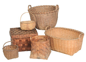 Six Vintage Split Oak Baskets