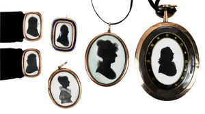 Six Gold Antique Silhouette Mourning Pieces