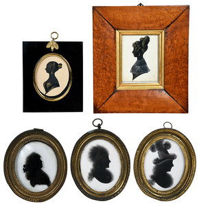 Five British Painted Silhouette Portraits