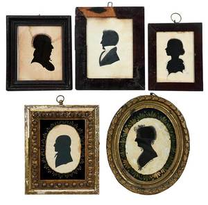 Five American Hollow Cut Silhouette Portraits