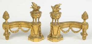 Pair Louis XVI Style Gilt Bronze Chenets