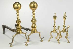 Two Pairs Brass Andirons