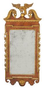 George II Style Parcel-Gilt Walnut Mirror