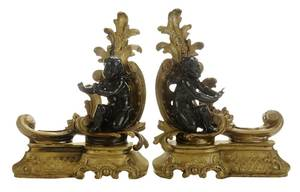 Pair Louis XV Style Parcel-Gilt Putti Chenets