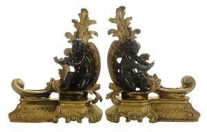 Pair Louis XV Style Parcel-Gilt Putti Chenets