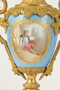French Gilt Metal and Porcelain Clock Garniture