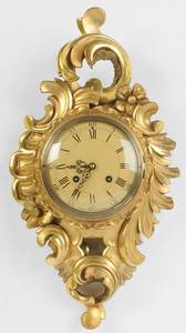 Louis XV Style Carved Gilt Wood Cartel Clock