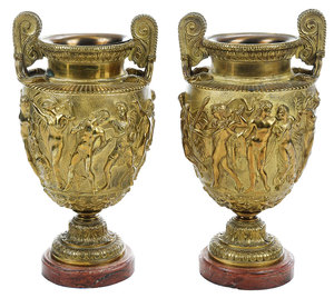 Pair Gilt Bronze Townley Vases